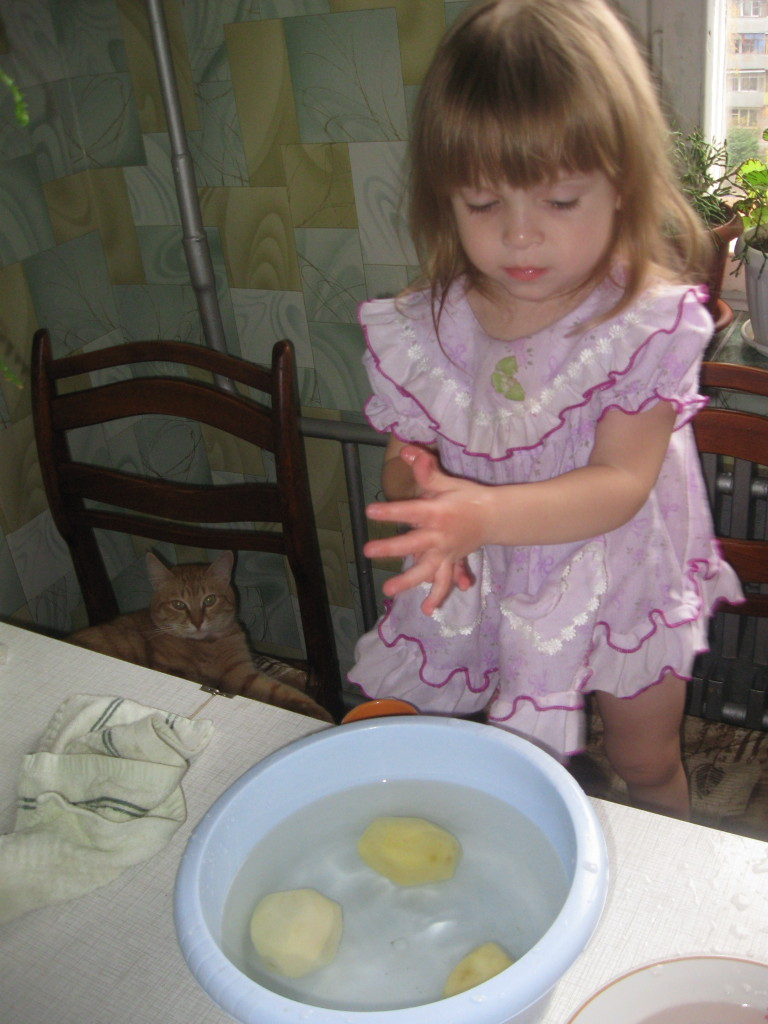 put potatoes into water